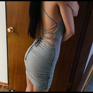 Urban Planet Grey Lace Up Back Cami Mini Dress